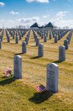 Veteran`s graves at Abraham Lincoln National Cemetery. In Joliet, Illinois Stock Images