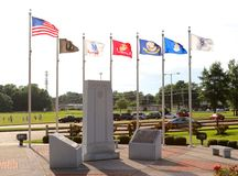Veteran's Park With Flags Waving, Memphis Tennessee Royalty Free Stock Images