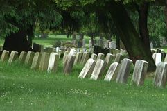 Veteran's Row. Cemetery section where veterans of the Spanish American War Stock Photography