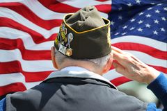Free Veteran Saluting In Front Of US Flag Royalty Free Stock Photo - 131204295