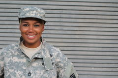 Veteran Soldier Smiling. African American Woman In The Military Royalty Free Stock Image