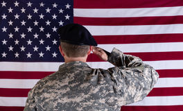 Veteran solider saluting the flag of USA flag. Veteran soldier, back to camera, saluting USA flag Stock Photo