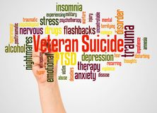 Veteran Suicide word cloud and hand with marker concept stock images