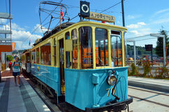 Veteran tram in Oslo. This veteran tramcar is a Siemens-Schuckert model and was built in 1913. It was used in ordinary traffic until 1968. It now belongs to the Stock Photos