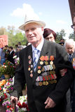 Veteran on Victory Day. 9 may 2010. Veteran attending the 65th anniversary of the Victory Day in Chishinau, Republic of Moldova royalty free stock photos