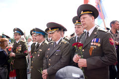 Veteran on Victory Day. 9 may 2010. Veteran attending the 65th anniversary of the Victory Day in Chishinau, Republic of Moldova Royalty Free Stock Photo