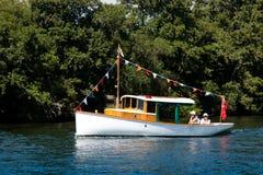 Veteran wooden motorboat Stock Photography