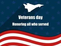Veterandag 11th November Hedra alla som tjänade som Kort för hälsning för veterandag med amerikanska flaggan vektor Arkivfoton