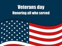 Veterandag 11th November Hedra alla som tjänade som Kort för hälsning för veterandag med amerikanska flaggan vektor Royaltyfria Bilder