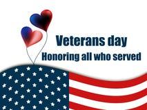 Veterandag 11th November Hedra alla som tjänade som Kort för hälsning för veterandag med ballonger och amerikanska flaggan vektor Royaltyfria Bilder