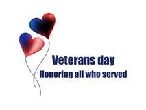 Veterandag 11th November Hedra alla som tjänade som Kort för hälsning för veterandag med ballonger på vit bacground vektor Arkivfoto