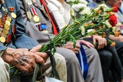Veterane des Zweiten Weltkrieges an der Feier von 9. können Stockbilder