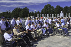 Veteranen bij het Gedenkteken van WO.II, Washington, gelijkstroom Royalty-vrije Stock Foto's