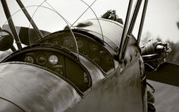 Veteranenflugzeugcockpit Lizenzfreies Stockfoto