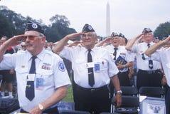 Veterani della Guerra di Corea che salutano, anniversario della Guerra di Corea cinquantesimo, Washington, DC C Fotografie Stock