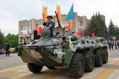 Veterano de operaciones militares en BTR-80 Pyatigorsk, Rusia Imagen de archivo libre de regalías