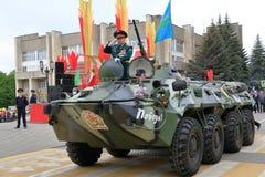 Veterano delle operazioni militari su BTR-80 Pjatigorsk, Russia Fotografie Stock Libere da Diritti