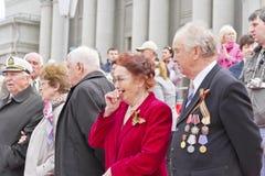 Veterano do russo na celebração na parada na vitória anual D Imagem de Stock Royalty Free