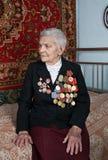 Veterano femminile della seconda guerra mondiale Fotografia Stock