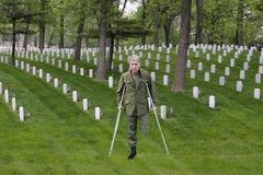 Veterano ferito di combattimento del guerriero, soldato Hero, sacrificio immagini stock libere da diritti