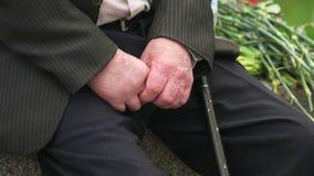 Veterano maschio senior con il bastone della canna video d archivio