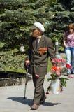 Veterano superior na celebração de Victory Day em Kyiv, Ucrânia Fotografia de Stock