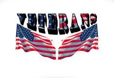 Veteranos com as duas bandeiras dos EUA em um fundo branco fotos de stock