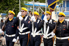 Veteranos da parada das guerras estrangeiras (VFW) Fotografia de Stock Royalty Free