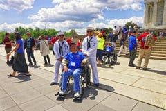 Veteranos de guerra ao lado de Lincoln Memorial no Washington DC Fotos de Stock