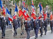 Veteranos franceses en desfile Imagen de archivo