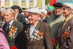 Veteranos no identificados durante la celebración de Victory Day. MIN Foto de archivo libre de regalías