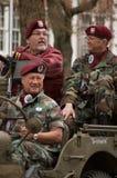 Veteranos no veículo militar Imagem de Stock Royalty Free