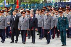 Veteranos, oficiales y diputados de la Duma del estado Foto de archivo