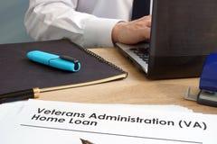 Veterans Administration VA Home Loan application. Veterans Administration VA Home Loan application form royalty free stock photo