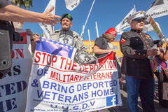 Veterans with Banners at Nogales Border Action Stock Images