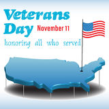 Veterans Day. Abstract colorful background with the shape of United States of America, an american flag and the text Veterans Day written in blue stock illustration