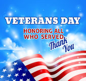 Veterans Day American Flag Background Sky Stock Images