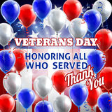 Veterans Day American Flag Balloons Background Stock Photo
