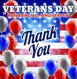 Veterans Day American Flag And Balloons Design. Patriotic Veterans Day American flag and balloons red, white and blue background graphic design Stock Images