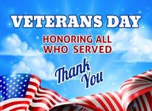 Veterans Day American Flag Sky Background