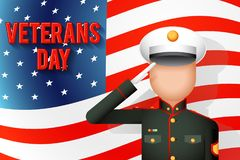 Veterans day american military ceremonial dress stands attention. Veterans day american military dress ceremonial stands attention salutes flag background flat Royalty Free Stock Images