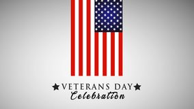 Veterans day animation with USA flag and stars. Animated 4K video. stock illustration