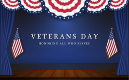Veterans Day Background With Circle Wavy USA Flag Stock Image