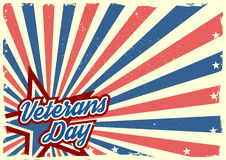 Veterans Day background. Detailed illustration of a grungy stars and stripes backbround with Veterans Day text Royalty Free Stock Image