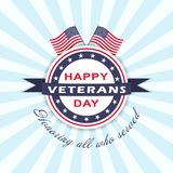 Vector Veterans Day background with stars, ribbon, lettering and flags. Template for Veterans Day. Royalty Free Stock Images