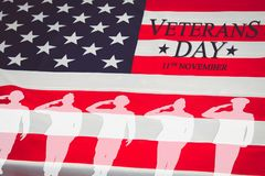 Veterans day background. Text veterans day 11 th november , the. USA flag and the shadow of the soldier. Toning Stock Photo