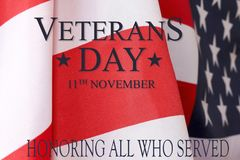 Veterans day background. Text veterans day 11 th november. Unite. D States of America flag  with the inscription honoring all who served Stock Images