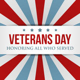Veterans Day background. USA patriotic colorful template. For National celebrations. Vector illustration with text, stripes and stars for posters, flyers Royalty Free Stock Images