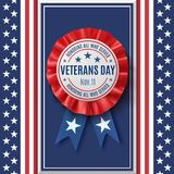 Veterans Day badge on abstract American background. Veterans Day badge. Realistic, patriotic, blue and red label with ribbon, on abstract American flag Royalty Free Stock Image