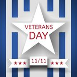 Veterans Day Banner With A White Star And A Ribbon With The Date November 11 On The Background With Blue And White Stripes Royalty Free Stock Image